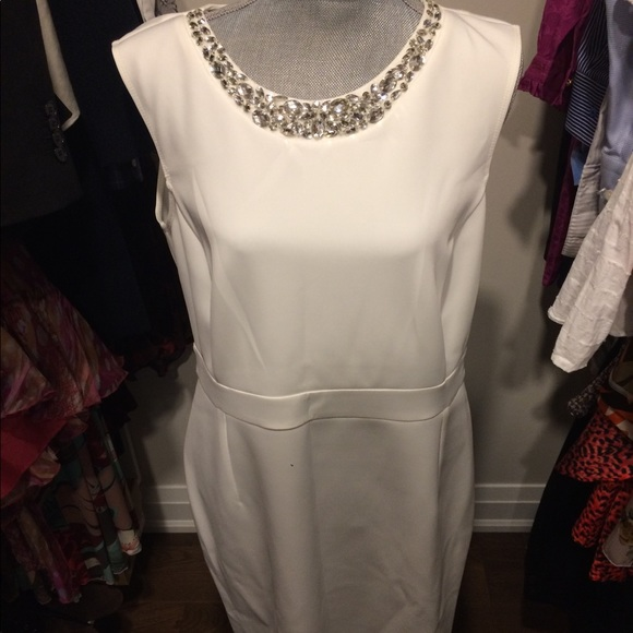 New with Tags White Dress with Crystal Neckline